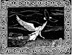 Flying woman in a night sky from Flightless, a letter story by David Borden