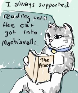 "cat reading ""The Prince"""