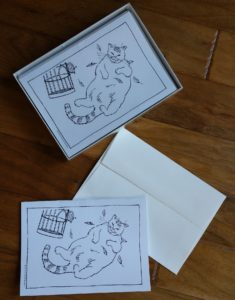 box of 10 fat cat cards by David Borden