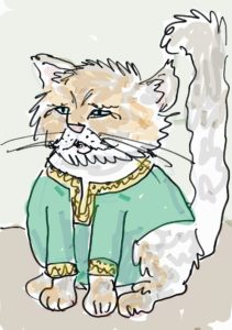 Persian cat dressed as Ali Baba from A Christmas Carol