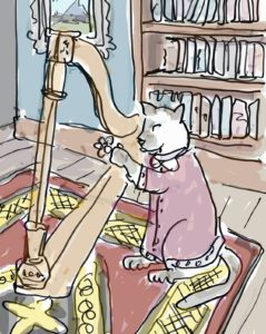 Cat Scrooge's niece played the harp
