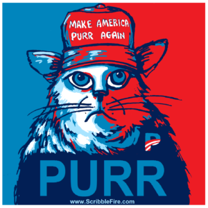 PURR image of Red Cap Cat similar to Obama Hope poster
