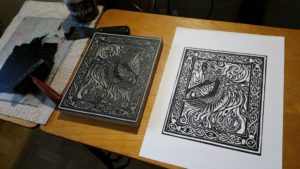 linoleum block print of the phoenix by David Borden
