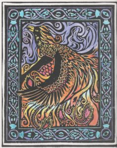 hand painted linoleum phoenix print.. Limited Edition by David Borden