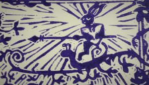 bunny riding a snail charter member card