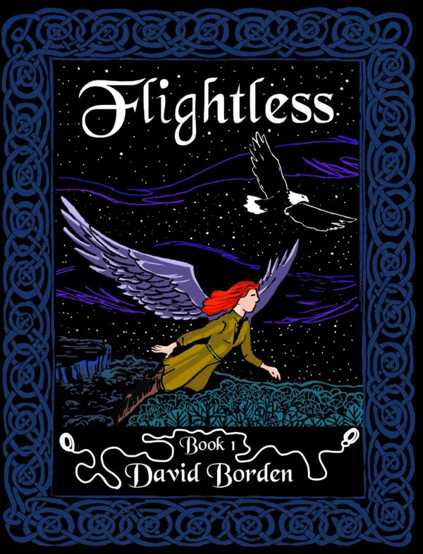 Flightless Book 1 cover. Shows a woman with wings flying over night landscape