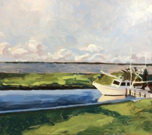 Shrimp boat painted by David Borden in Palacios, Texas