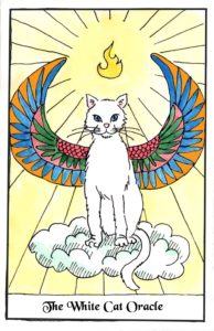White cat oracle card depicts a white cat sitting on a cloud with Egyptian wings. It has a flaming halo. Card by David Borden. Cat Divination.