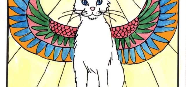 White cat oracle card depicts a white cat sitting on a cloud with Egyptian wings. It has a flaming halo. Card by David Borden