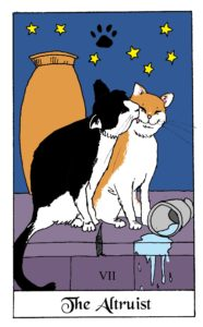 The Altruist Card from the White Cat Oracle deck by David Borden. Cat Divination.