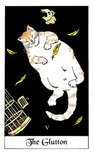 The Glutton Cat card from the White Cat Oracle Deck by David Borden. Cat Divination.