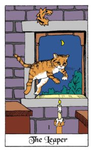 The Leaping Cat card from the White Cat Oracle deck by David Borden. Cat Divination.
