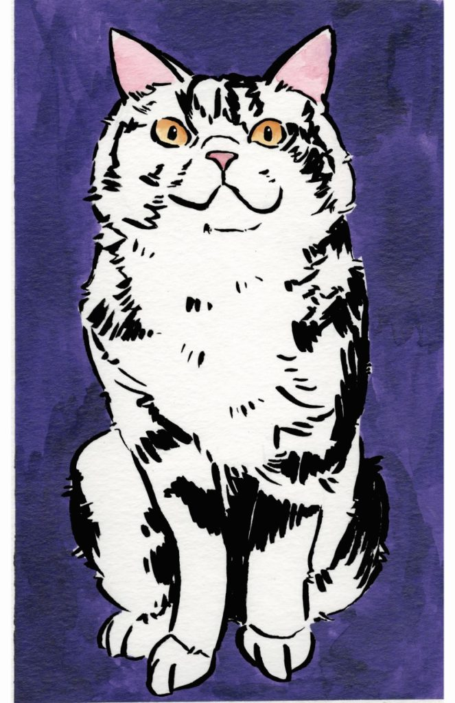 Purple cat poster by Ruby Borden.
