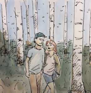 Man and Woman walking in the woods. An Inktober drawing by artist David Borden