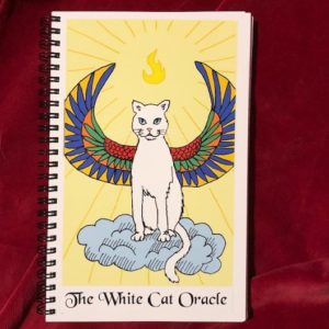 Lined journal with image of White Cat Oracle card on cover.
