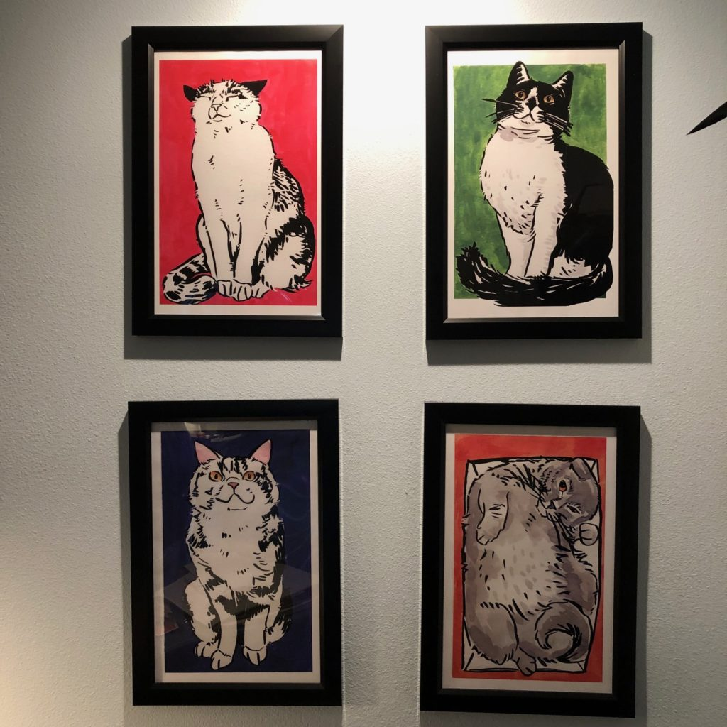 Set of 4 Cat Posters by Ruby Borden