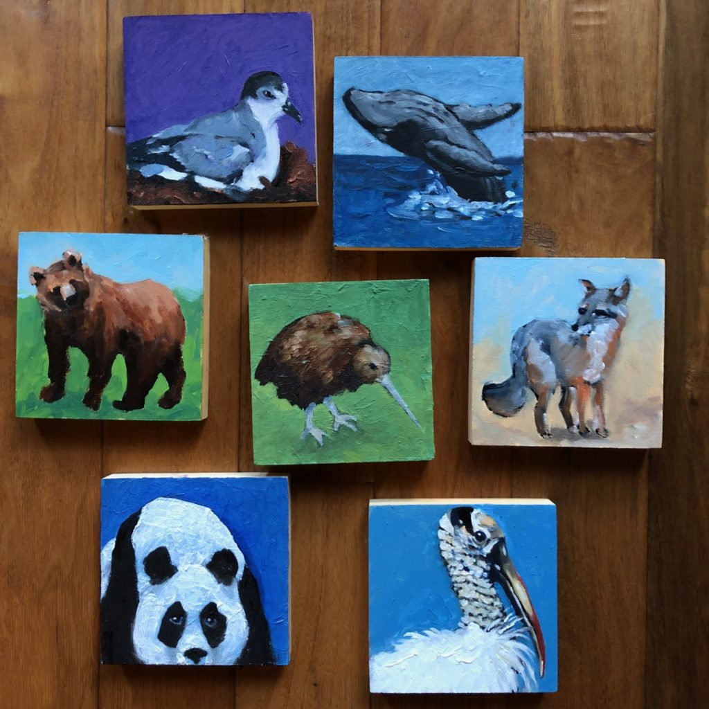 Oil Paintings of Endangered Species, 4 x 4 inches on panel