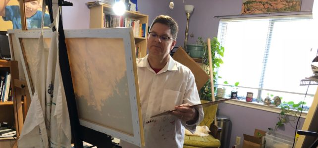 Artist David Borden working in studio