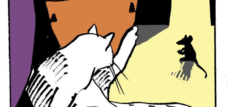 The White Cat sees a mouse by artist David Borden