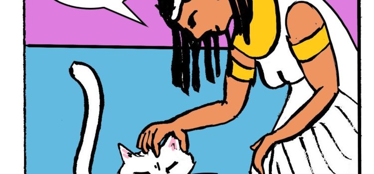 The White Cat Oracle receives thanks from his charge. Webcomic page by artist David Borden.