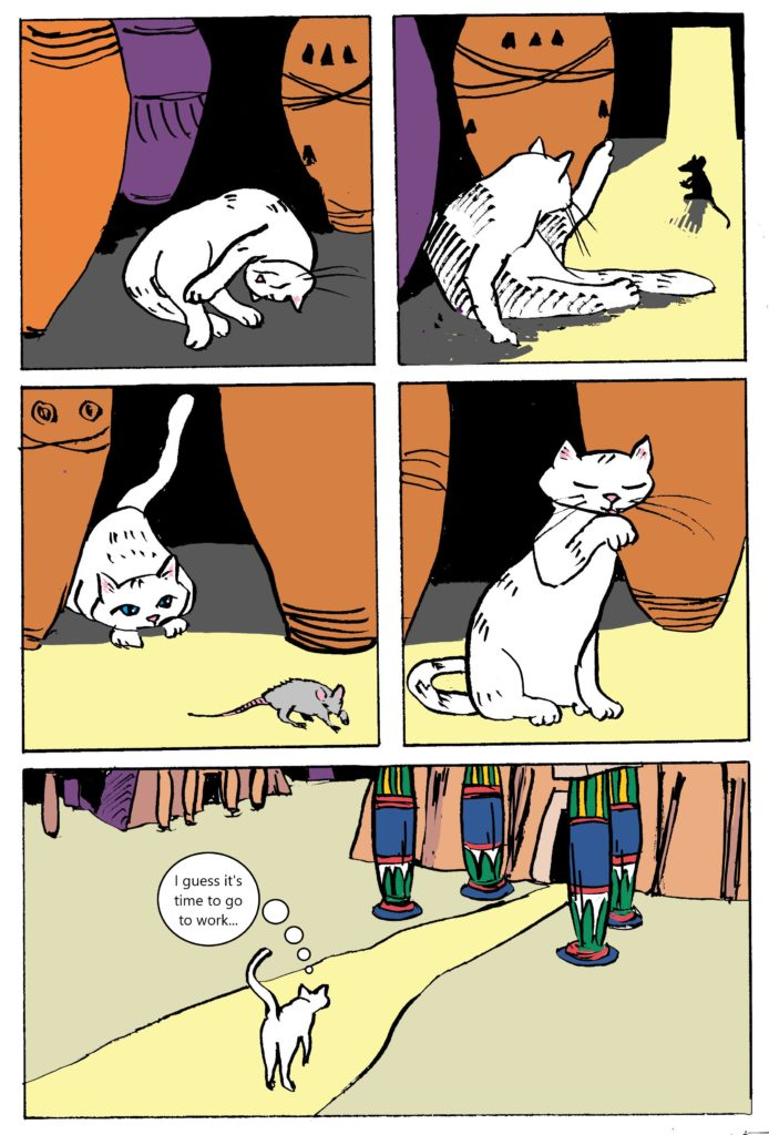 Page one of The White Cat Oracle comic by artist David Borden.