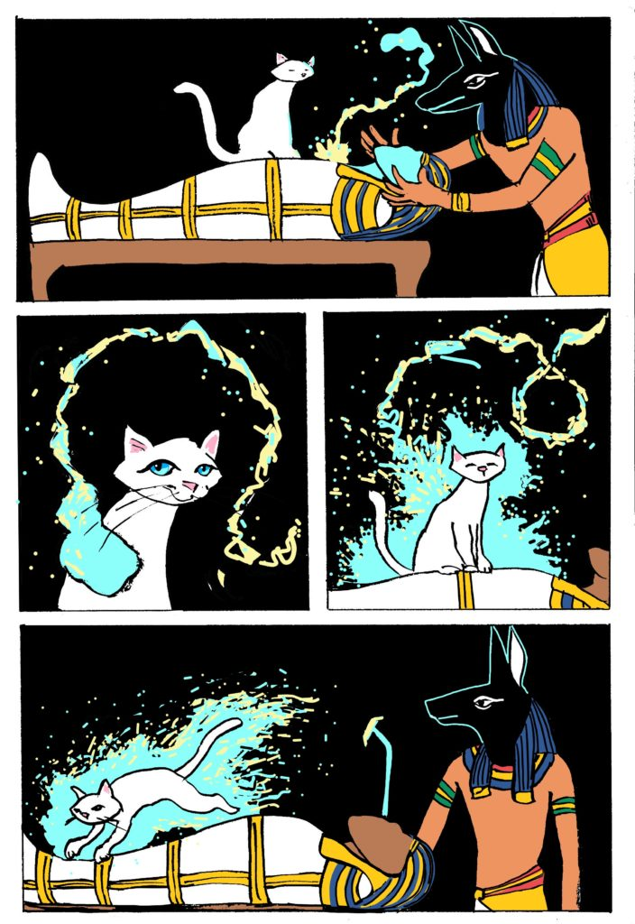 page 2 of white cat oracle webcomic. The cat goes to work transmigrating a soul.