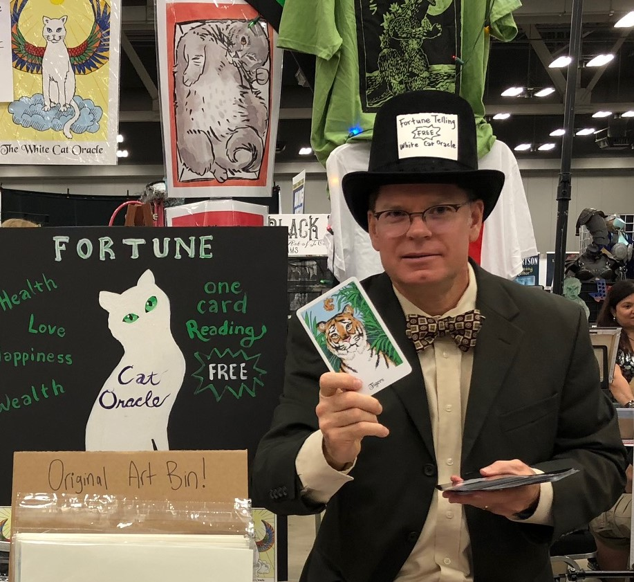 Doing a reading from the White Cat Oracle
