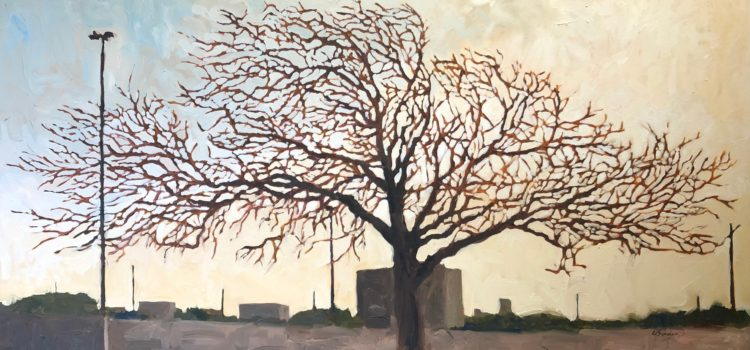 Oil painting of tree in winter by David Borden.